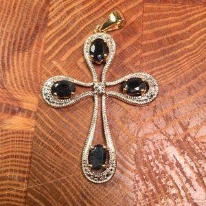 DBJ silver, sapphire, and diamond cross pendant